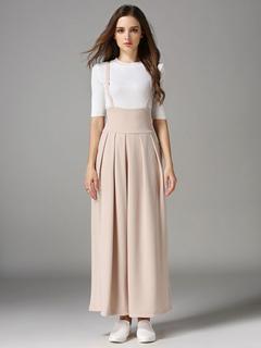 Apricot Long Pants Pleated Wide Leg Women's Pants