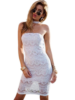 White Party Dress Lace Halter Sleeveless Sexy Bodycon Dresses For Women