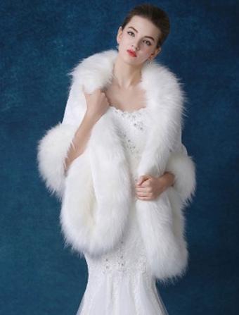Women Wool Poncho Faux Fur 3/4 Sleeves White Poncho Women