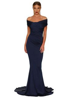 Women Maxi Dress Off The Shoulder Short Sleeve Ruched Mermaid Women Dress Blue