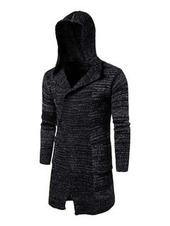 Men's Black Cardigan Hooded Long Sleeve Casual Knit Wear