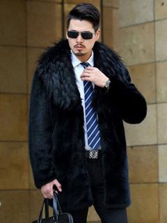 Faux Fur Coat Black Turndown Collar Long Sleeve Regular Fit Long Coat For Men