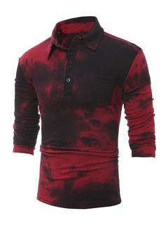 Burgundy Polo Shirt Men's Long Sleeve Turndown Collar Regular Fit T Shirt