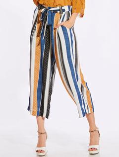 Blue Capri Pants Boho Striped Straight Leg Drawstring Summer Pants For Women