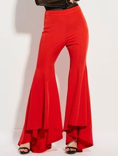 Red Long Pants High Waisted High Low Flared Pants