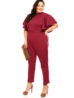 Plus Size Jumpsuit Burgundy Stand Collar Short Sleeve Backless Skinny Leg Women's Long Jumpsuit
