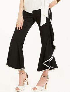 Black Long Pants Two Tone Asymmetrical Cropped Leg Elastic Waist Women's Summer Pants
