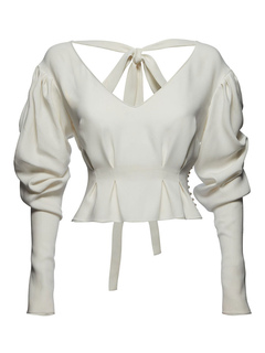 White Casual Blouses V Neck Dolman Sleeve Backless Women's Top