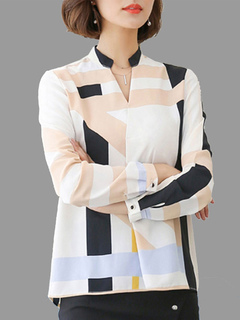 White Casual Shirt Geometric Print Notched Neckline Long Sleeve Women's Blouse