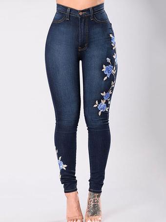 Pantaloni jeans blu scuri chic   moderni vita alta in denim ricamati 7e8f7396fb9