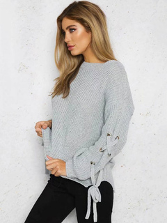 Grey Pullover Sweater Round Neck Long Sleeve Lace Up Women's Knit Sweater