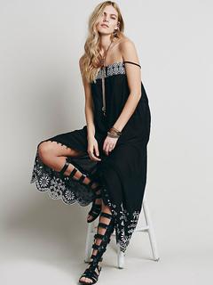 Black Boho Dress Sleeveless Straps Cut Out Women's Long Dresses