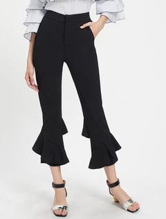 Black Cropped Pants Irregular Hem Layered Ruffles Skinny Flared Pants