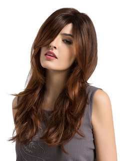 Long Curly Wigs Women's Side Swept Bangs Natural Wave Tan Fringes Wigs