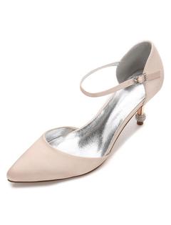 Zapatos de puntera puntiaguada de tacón de kitten de satén con lazo elegantes para boda AdRYDH3K