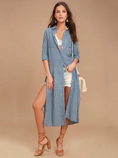 Blue Shirt Dress Turndown Collar Long Sleeve Split Long Dresses For Women