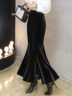 Black Long Skirt Split Velour Mermaid Pencil Skirts For Women
