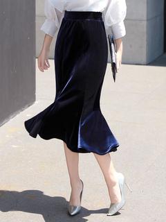 Deep Blue Skirt Women's Ruffles Velour Mermaid Bodycon Skirts