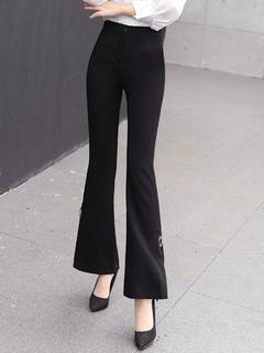 Black Long Pants Women's Split Flared Pants
