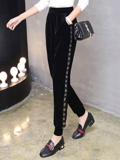 Black Long Pants Velour Elastic Waist Jogger Pants