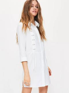 White Shirt Dress Turndown Collar 3/4 Length Sleeve Split Short Dresses For Women