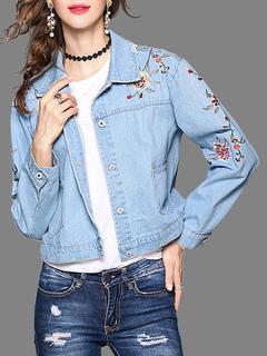 Women's Denim Jacket Light Blue Long Sleeve Turndown Collar Embroidered Short Jackets