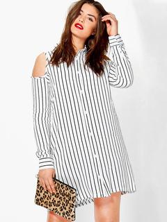 White Shirt Dress Long Sleeve Cut Out Striped Turndown Collar Women's Shift Dresses