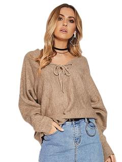Light Brown Sweater V Neck Long Sleeve Backless Women's Knit Top