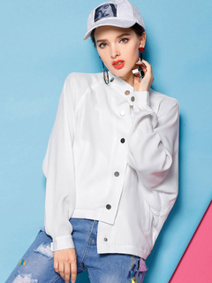 White Casual Jacket Long Sleeve Stand Collar Anime Characters Print Wind Proof Jacket For Women