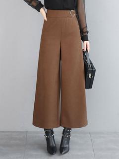 Khaki Women's Pants Wide Leg Wool Long Pants