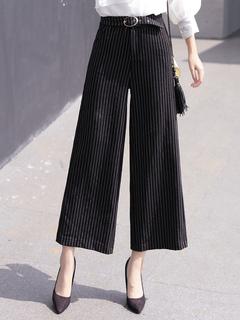 Black Long Pants Wide Leg Striped Women's Pants