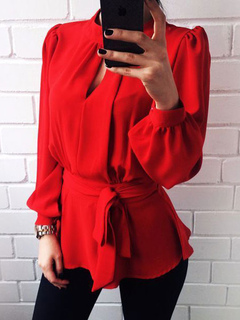 Red Casual Blouses Keyhole Long Sleeve Cut Out Backless Women's Top