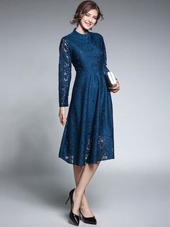 Blue Lace Dress Stand Collar Long Sleeve Women's Skater Dresses