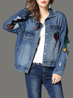 Blue Denim Jacket Long Sleeve Turndown Collar Embroidered Women's Jackets