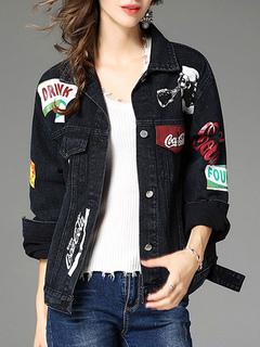 Black Denim Jacket Turndown Collar Long Sleeve Letters Printed Women's Jackets