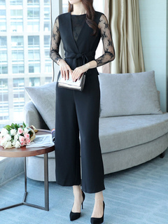 Black Pants Set Long Sleeve Round Neck Lace Top With Waistcoat And Pants