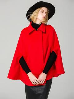 Red Winter Poncho Half Sleeve Turndown Collar Women's Wool Cape Coat
