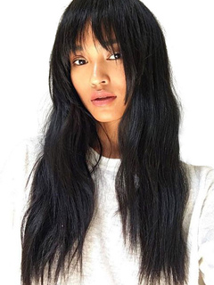 Human Hair Wigs Crimp Curls Layered Long Black Wigs With Bang