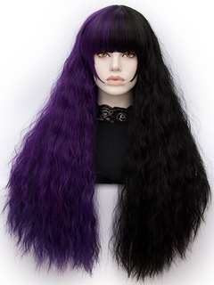 Women's Carnival Wigs Crimp Curls Long Layered Purple Synthetic Wigs With Bangs