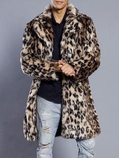 Faux Fur Coat Men's Leopard Turndown Collar Long Sleeve Regular Fit Long Coat