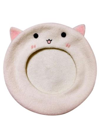 0305ba94b1a9e Sweet Lolita Baret White Cat Two Tone Embroidered Wool Lolita Hat