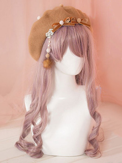 80e60b1cdc521 Classic Lolita Baret Light Tan Bows Wool Lolita Hat