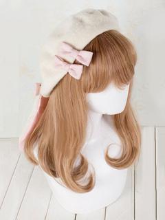 15c9bc3442248 Sweet Lolita Baret Ivory Bunny Bows Wool Lolita Hat