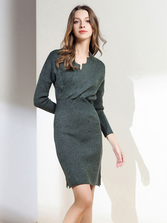 Apricot Sweater Dress V Neck Long Sleeve Comfy Split Women's Bodycon Dresses