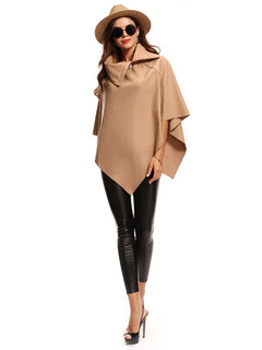Light Tan Poncho Half Sleeve Asymmetrical Wool Women's Cape Coat