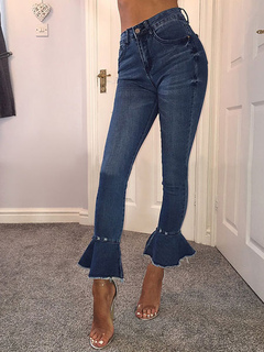 Blue Denim Jeans Women's Skinny Flared Pants