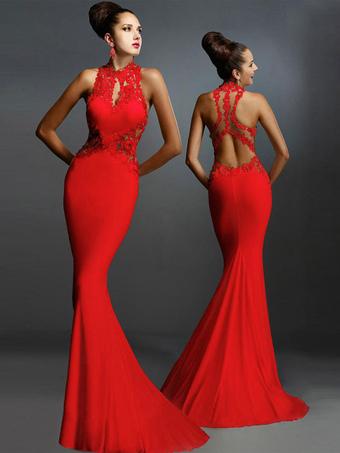 Vestido largo de algodón mezclado con escote redondo Color liso de encaje  sin mangas elegante 7395414aa962