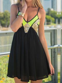 Black Mini Dress Women Chiffon Deep V Neck Sleeveless Straps Sequins Color Block Skater Dresses