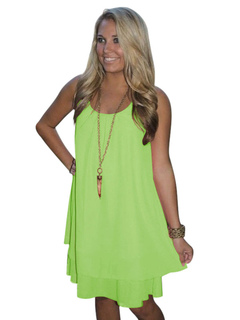 Women Spring Dress Sleeveless Round Neck Ruffles Chiffon Backless Green Short Dresses