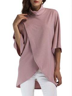 Pink Casual Blouses High Collar Half Sleeve Split Asymmetrical Top For Women